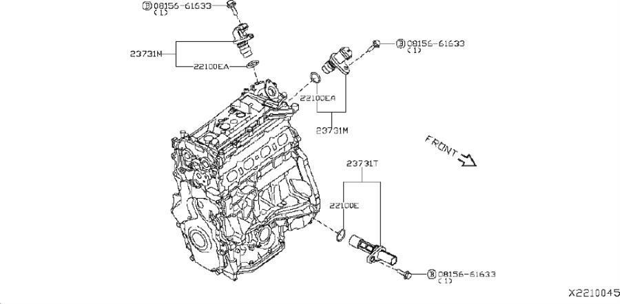 Nissan Sentra Crankshaft Position Sensor - 23731-1KC0B ...