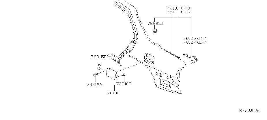 Nissan Altima Fuel Filler Door  Fitting  Fender  Rear