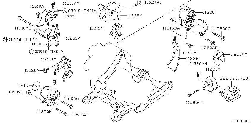 Nissan Altima Engine Mount (Rear). TRANSMISSION, MOUNTING ...