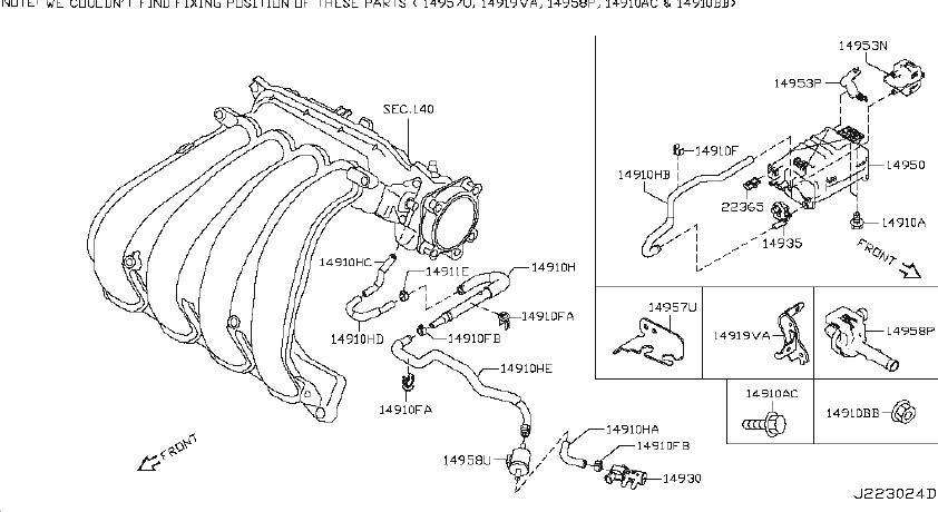 Nissan Altima Vapor Canister Bolt  Intake  Exhaust  System