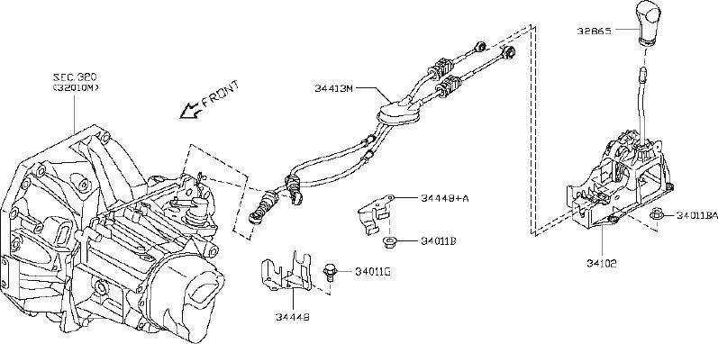 Nissan Versa Manual Transmission Shift Knob  Control
