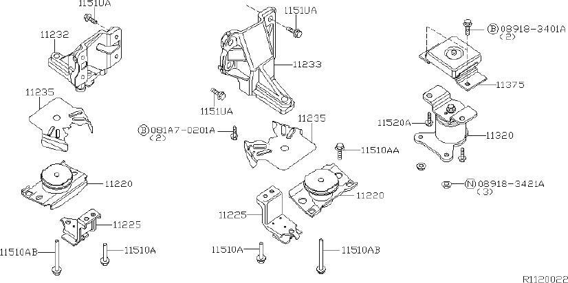 Nissan Pathfinder Engine Mount (Front). BED, LONG ...