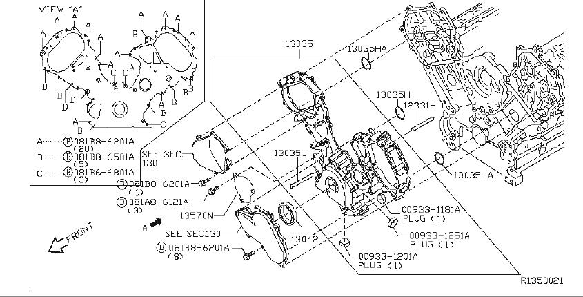 Nissan Pathfinder Seal O Ring  Front  Cover  Component