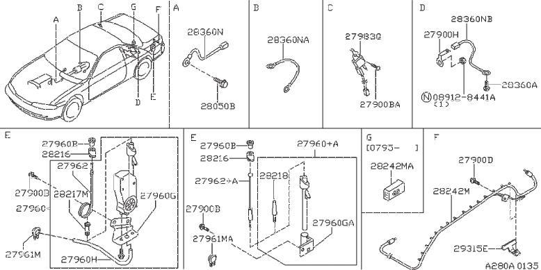 Nissan 240SX Wire Earth Bonding. AUDIO, CAL, FED - 28360 ...