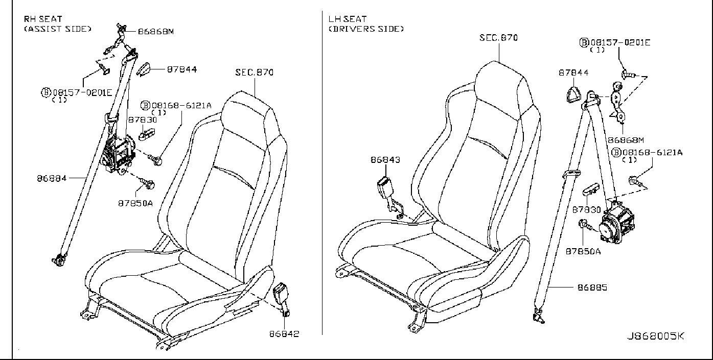 Nissan 350z Seat Belt Lap And Shoulder Belt  Right  Front